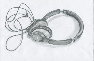 Dessin Casque Audio drawing rage - portfolio dessins webdesign et illustrations